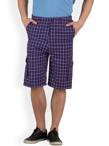 Hypernation Men Blue & Red Checked Shorts at myntra