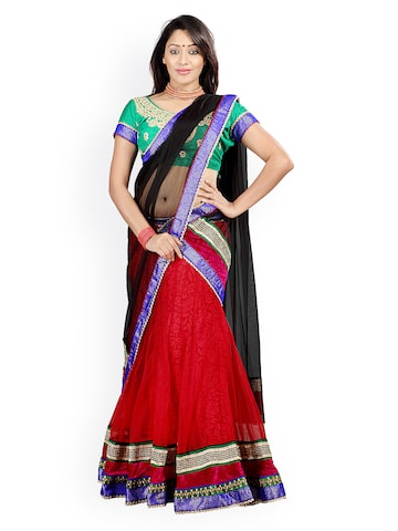 Florence Red & Green Semi-Stitched Brasso Net Lehenga Choli with Dupatta at myntra