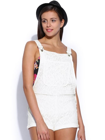 ONLY Women White Lace Dungarees at myntra