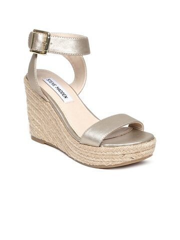 Steve Madden Women Gold-Toned Wedges at myntra