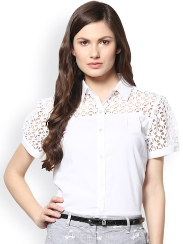 Abiti Bella Women White Lace Embroidered Shirt at myntra