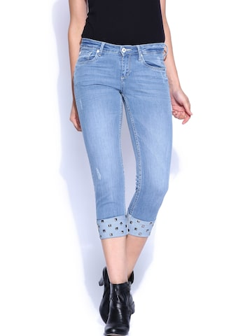 Ed Hardy Blue Skinny Fit Capris at myntra