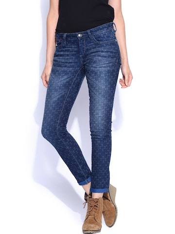 Ed Hardy Blue Printed Classic Skinny Jeans at myntra