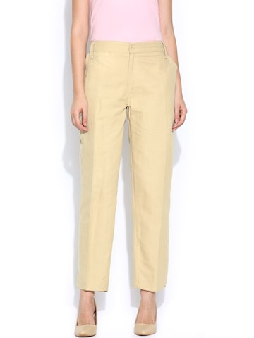 BIBA Women Beige Casual Trousers at myntra