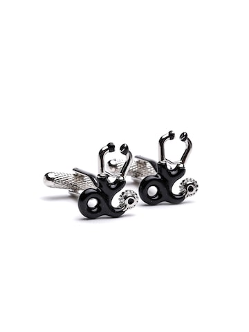 Alvaro Castagnino Steel-Toned & Black Cufflinks at myntra