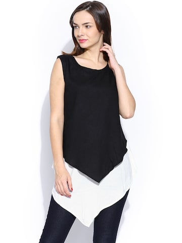 Wills Lifestyle Black & White Layered Top Wills Lifestyle Tops at myntra