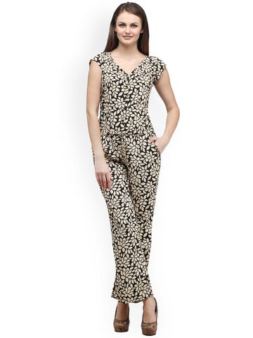 Cottinfab Black & Beige Printed Jumpsuit at myntra
