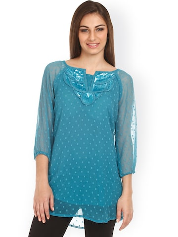 Mustard Teal Green Tunic at myntra