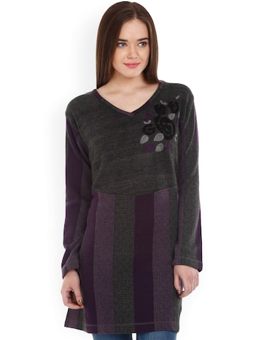 Mustard Charcoal Grey & Purple Knitted Striped Tunic at myntra