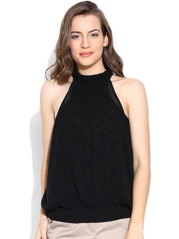 Vero Moda Black Semi-Sheer Top with Lace Lining at myntra