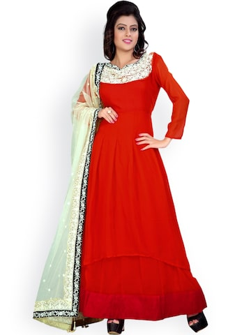 Florence Red Embroidered Georgette Semi-Stitched Dress Material at myntra