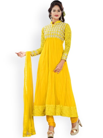 Florence Yellow Embroidered Georgette Semi-stitched Anarkali Dress Material at myntra