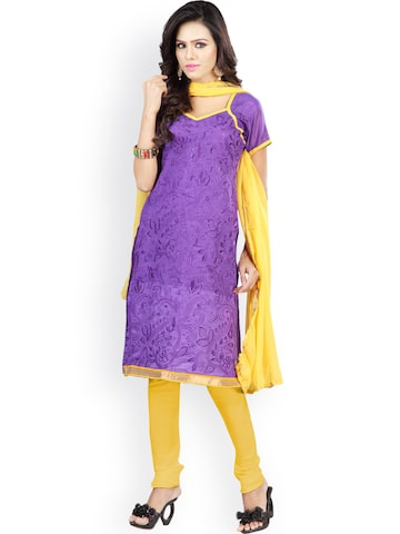 Florence Purple & Yellow Embroidered Chanderi Cotton Semi-Stitched Dress Material at myntra
