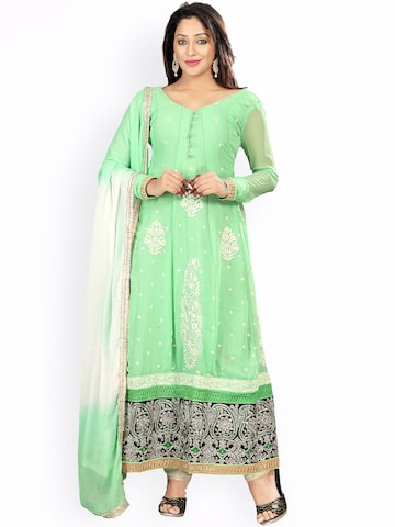 Florence Green & Off-White Embroidered Georgette Semi-Stitched Anarkali Dress Material at myntra