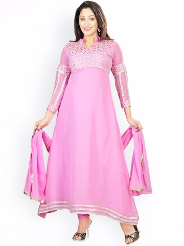 Florence Pink Embroidered Georgette Semi-Stitched Anarkali Dress Material Florence Dress Material at myntra