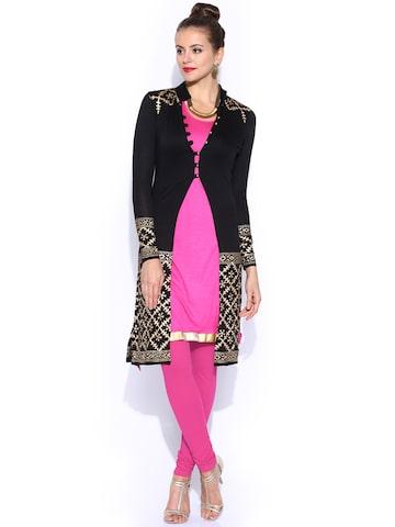 Ira Soleil Pink & Black Layered Kurta with Neckpiece at myntra