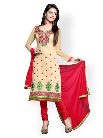 Florence Yellow & Red Cotton Unstitched Dress Material at myntra