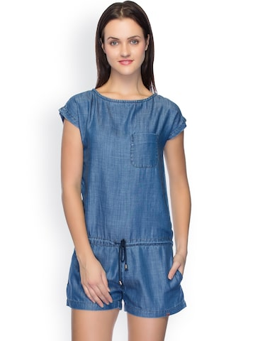 TARAMA Blue Playsuit at myntra