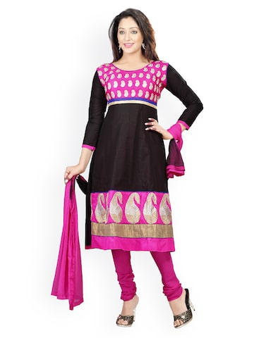 Florence Black & Pink Embroidered Cotton Semi-Stitched Dress Material at myntra