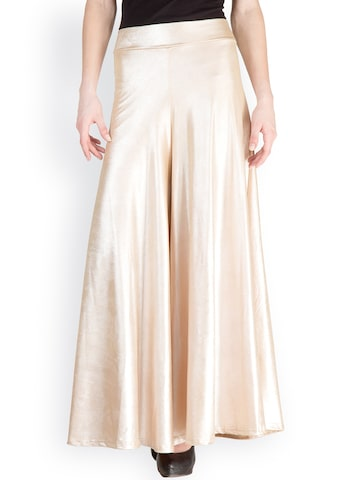 Castle White-Gold Toned Palazzo Trousers at myntra