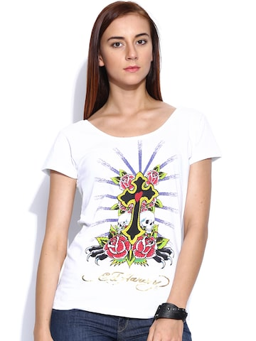 Ed Hardy White Printed Top at myntra