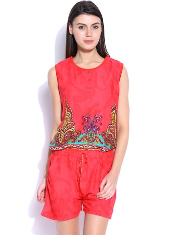 SDL by Sweet Dreams Coral Red Printed Playsuit SDL by Sweet Dreams Jumpsuit at myntra