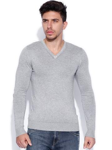 Celio Grey Melange Sweater at myntra