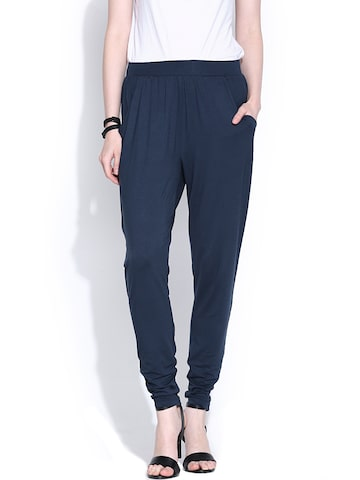 Vero Moda Navy Casual Trousers at myntra