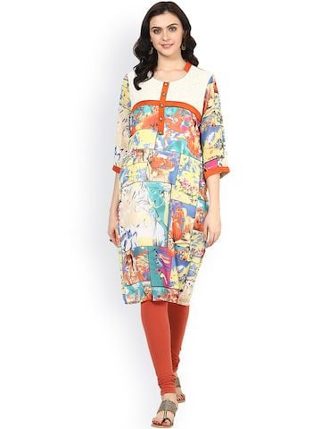 Shakumbhari Multicoloured Printed Kurta at myntra