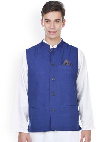 even Blue Linen Slim Fit Nehru Jacket at myntra