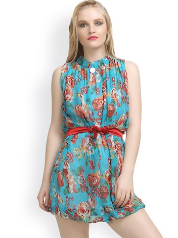 Private Lives Blue Printed Lounge Dress T5544 at myntra