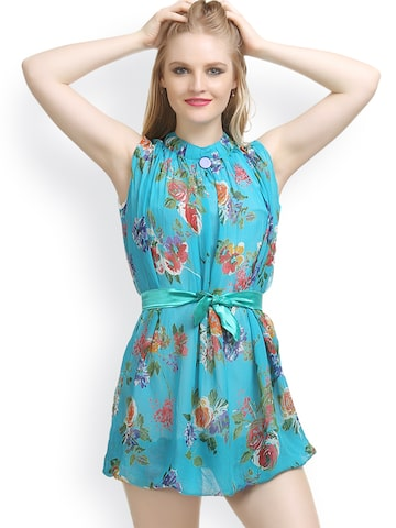 Private Lives Blue Printed Lounge Dress T5546 Private Lives Nightdress at myntra