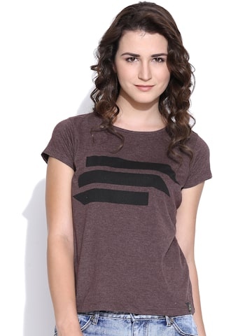 CULT FICTION Burgundy Printed T-shirt at myntra