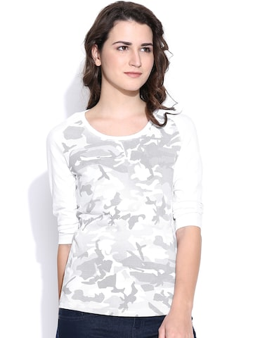 CULT FICTION White & Grey Melange Printed T-shirt at myntra