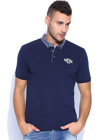 Flying Machine Blue Polo T-shirt at myntra