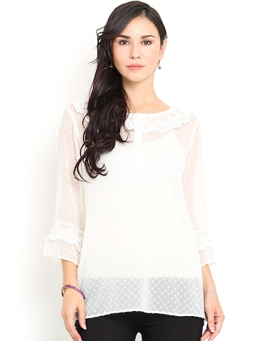 Paprika Off-White Top at myntra