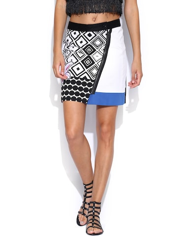 Desigual Black & White Printed Pencil Skirt at myntra
