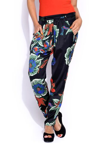 Desigual Multicoloured Printed Trousers at myntra
