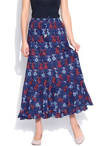 BIBA Navy Printed Maxi Skirt at myntra