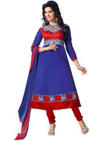 Florence Blue & Red Cotton Semi-Stitched Dress Material at myntra