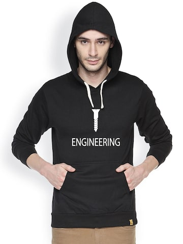 Campus Sutra Black Printed Hooded Sweatshirt Campus Sutra Sweatshirts at myntra