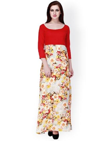 Cottinfab Red Floral Print Maxi Dress at myntra