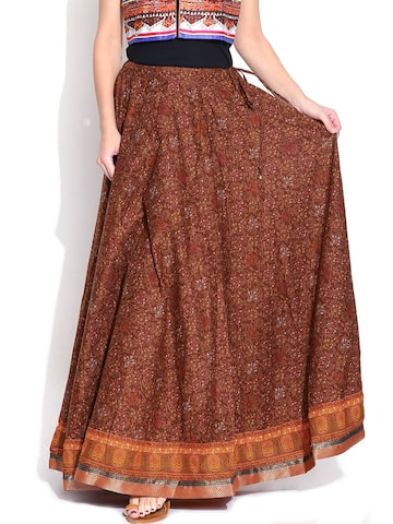 BIBA Brown Printed Flared Maxi Skirt at myntra
