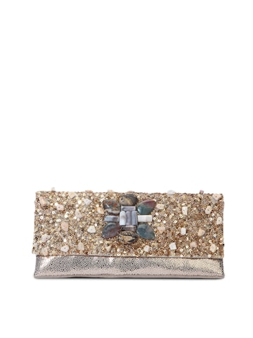 Tarusa Women Gold-Toned Leather Embellished Clutch at myntra