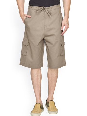 Hypernation Military Green Cargo Shorts at myntra