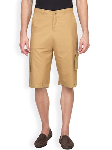Hypernation Khaki Cargo Shorts at myntra