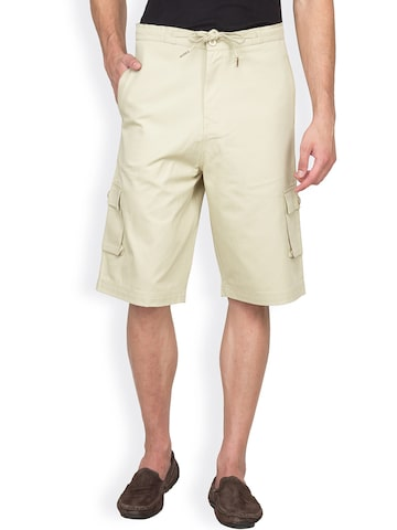 Hypernation Beige Cargo Shorts at myntra