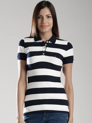 Nautica White & Navy Striped Polo T-shirt at myntra