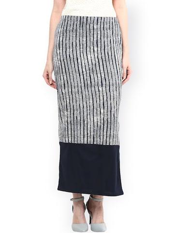 Taurus Blue & White Striped Slim Fit Maxi Skirt Taurus Skirts at myntra