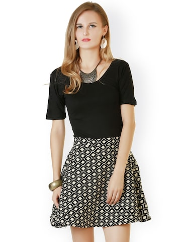 Belle Fille Black & White Printed Skater Dress at myntra